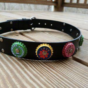 Womens Small Black Leather Belt Bottlecap Design